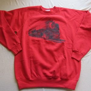 Vtg 1990 Locomotive Train Engine Sweater L